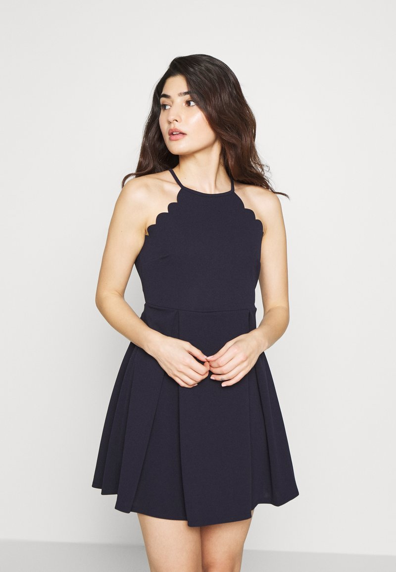 WAL G PETITE - HALTER NECK SCALOP DRESS - Denní šaty - navy