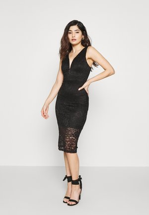 V NECK MIDI DRESS - Shift dress - black