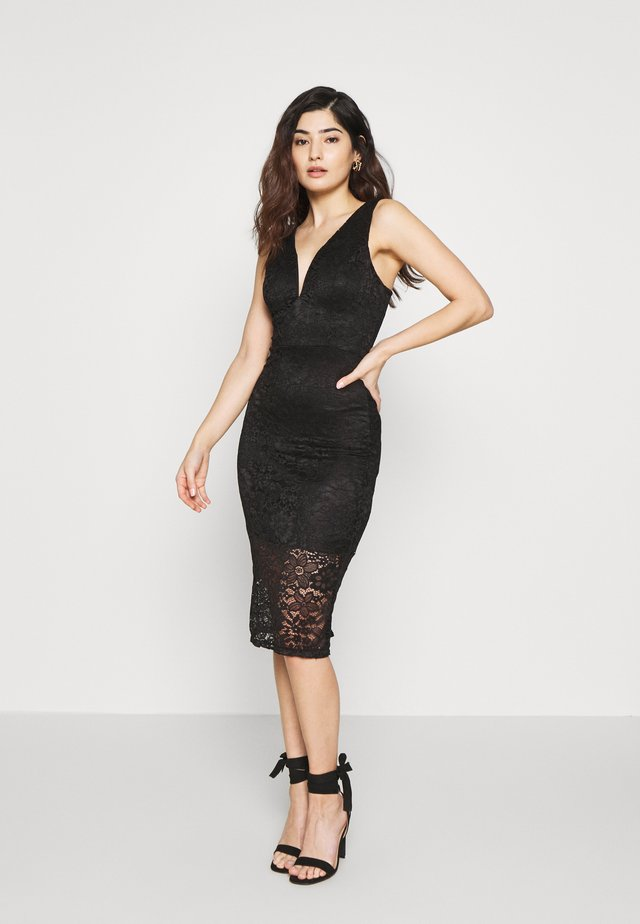 V NECK MIDI DRESS - Etui-jurk - black