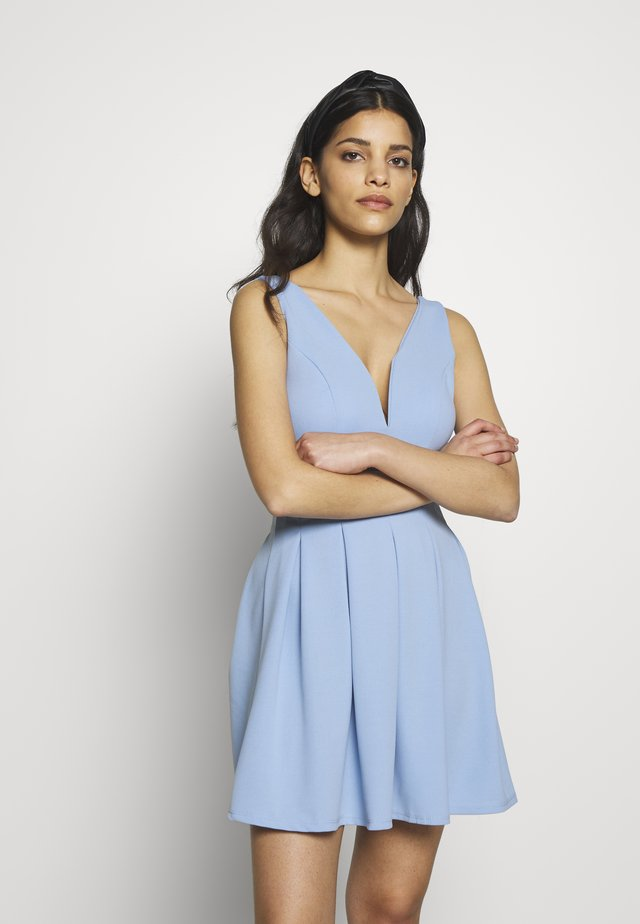 EXCLUSIVE V NECK MINI DRESS - Jerseyjurk - pale blue