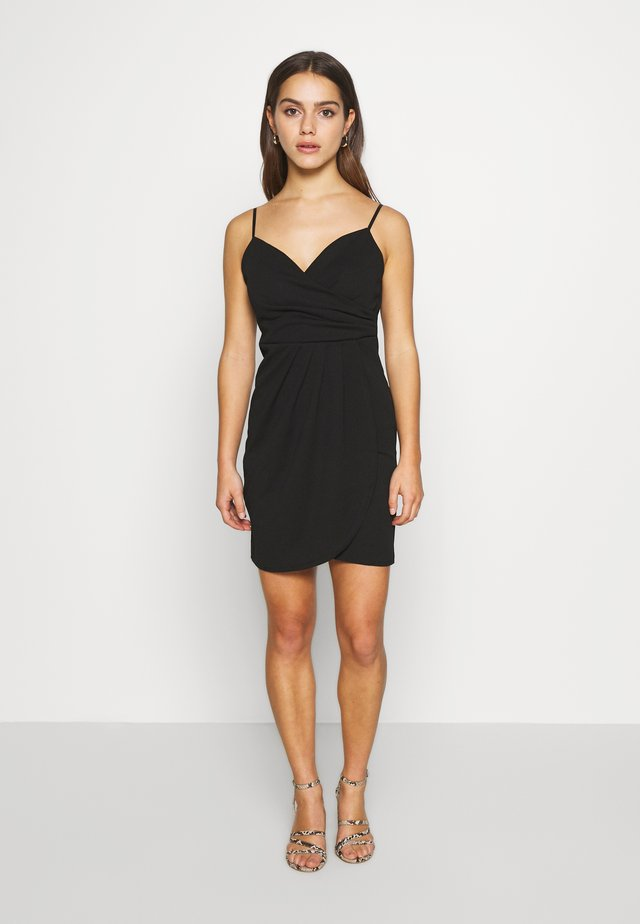 SPAGUETTI STRAPS WRAP DRESS - Jerseyklänning - black