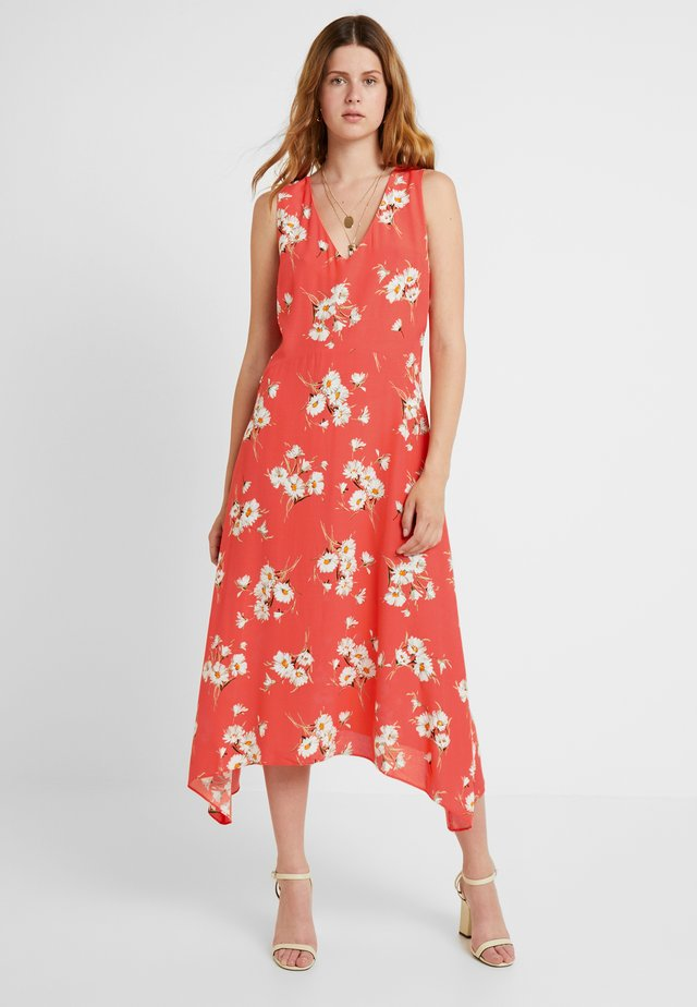 DAISY V NECK HANKY HEM DRESS - Maxikjole - coral