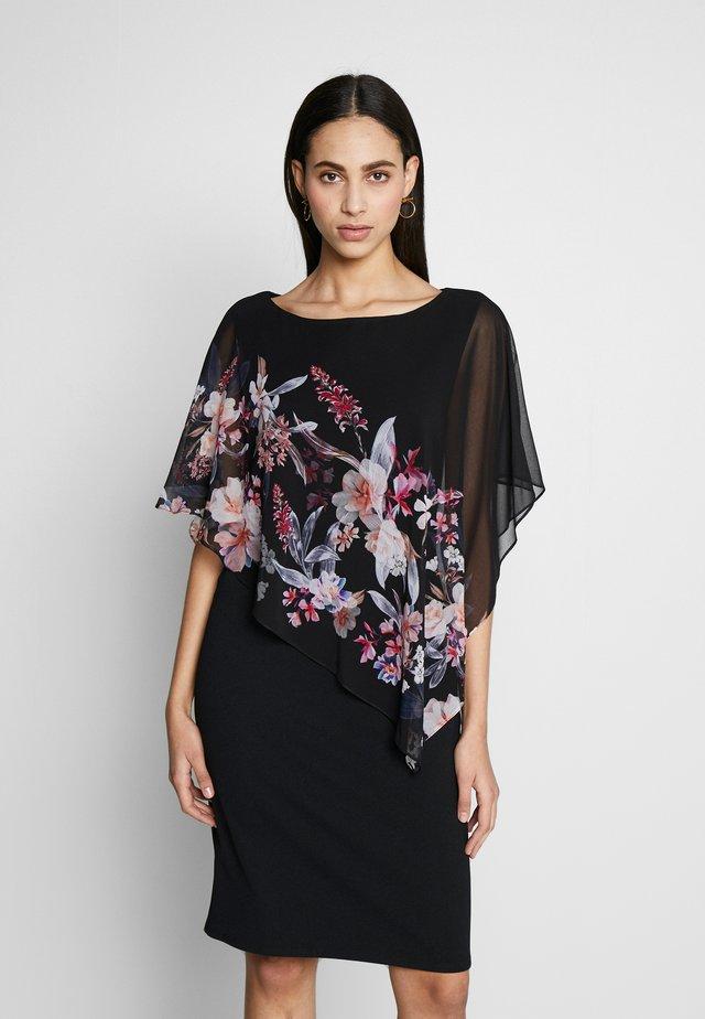 MAGNOLIA FLORAL OVERLAYER - Korte jurk - black