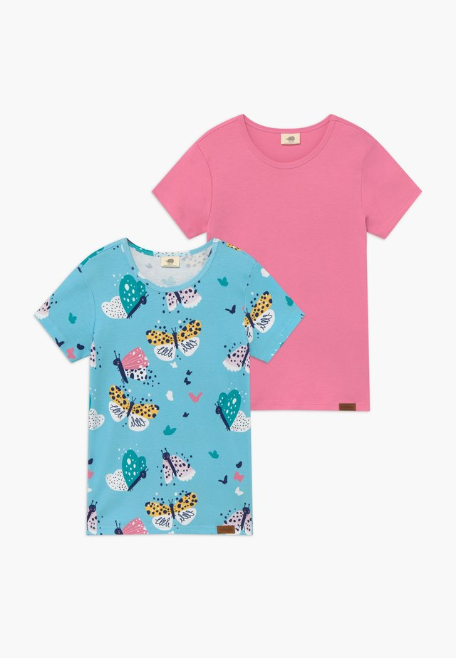 FUNNY BUTTERFLIES 2 PACK - T-shirts med print - turquoise/pink