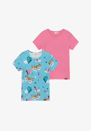 FUNNY BUTTERFLIES 2 PACK - T-shirt imprimé - turquoise/pink