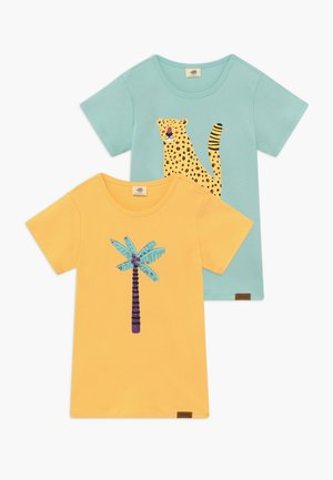 TROPICAL LEOPARDS PLACEMENT 2 PACK - Print T-shirt - green/yellow