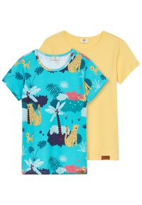 Walkiddy - TROPICAL LEOPARDS 2 PACK - Print T-shirt - blue/yellow - 4