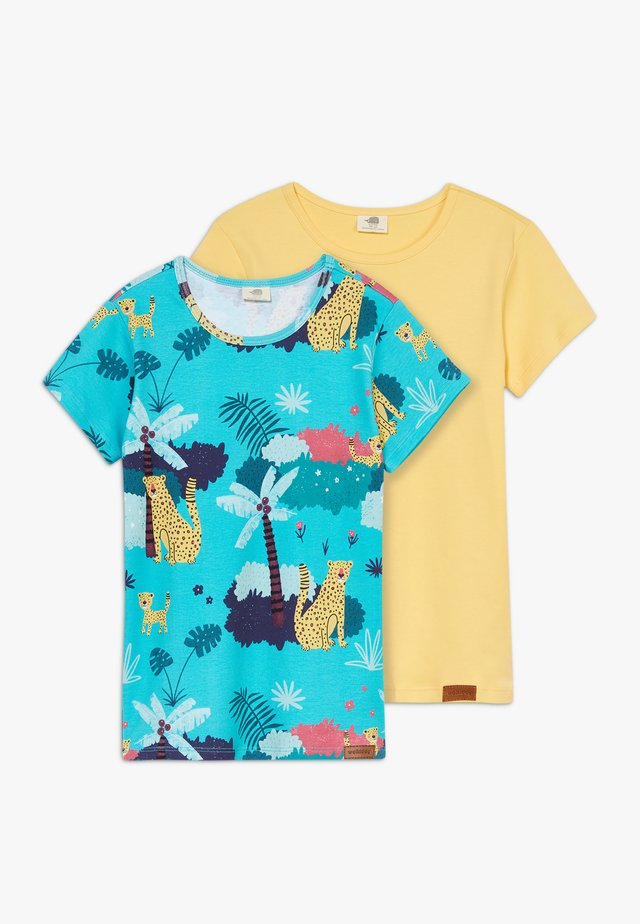 TROPICAL LEOPARDS 2 PACK - Print T-shirt - blue/yellow