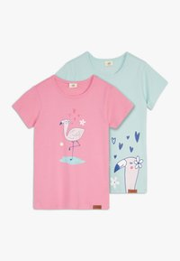 Walkiddy - CUTE FLAMINGO PLACEMENT 2 PACK - Print T-shirt - pink/green - 0