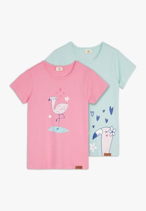 CUTE FLAMINGO PLACEMENT 2 PACK - Print T-shirt - pink/green