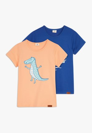 CROCODILE SURFING PLACEMENT 2 PACK - Print T-shirt - dark blue/orange
