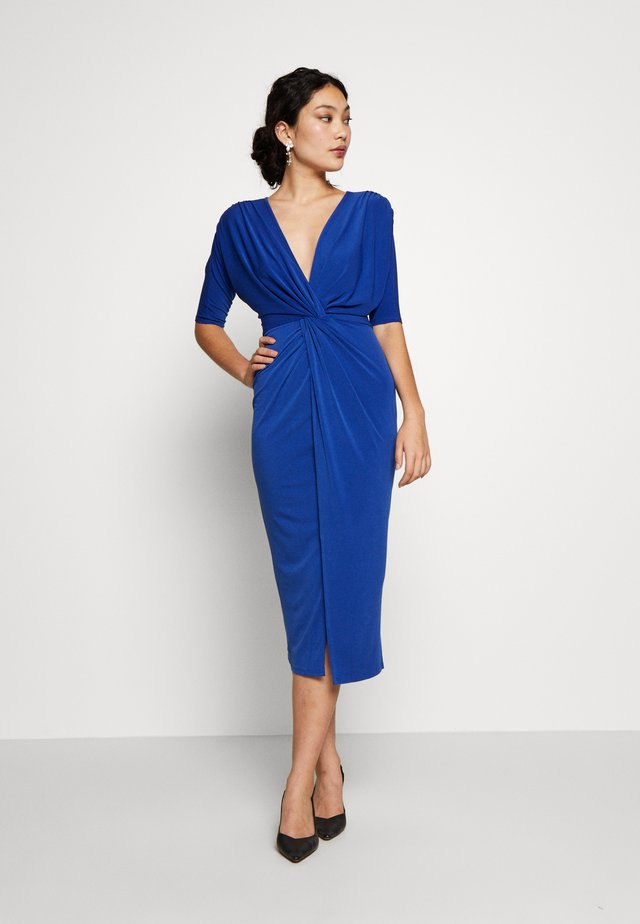 FRONT KNOT SLEEVE MIDI DRESS - Tubino - cobalt