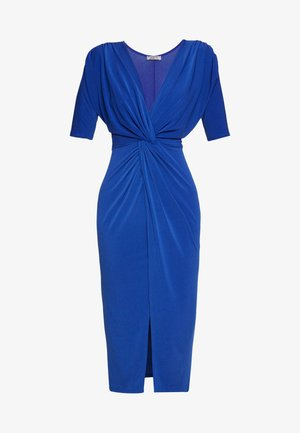 FRONT KNOT SLEEVE MIDI DRESS - Vestido de tubo - cobalt