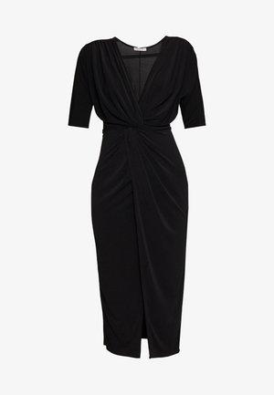 FRONT KNOT SLEEVE MIDI DRESS - Pouzdrové šaty - black