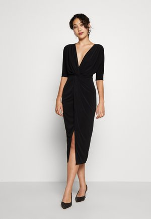 FRONT KNOT SLEEVE MIDI DRESS - Etuikjole - black