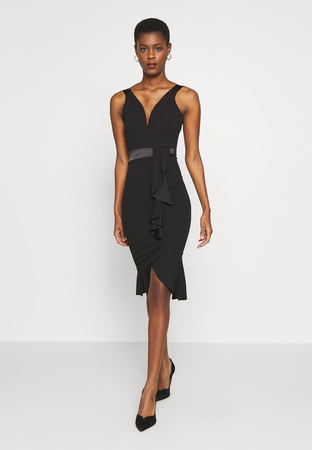 V NECK FRILL BOTTOM DRESS - Cocktailjurk - black