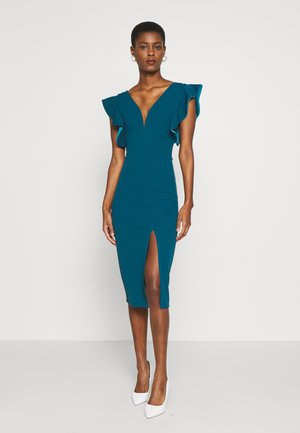 V-NECK FRILL SLEEVES SIDE SPLIT DRESS - Pouzdrové šaty - teal