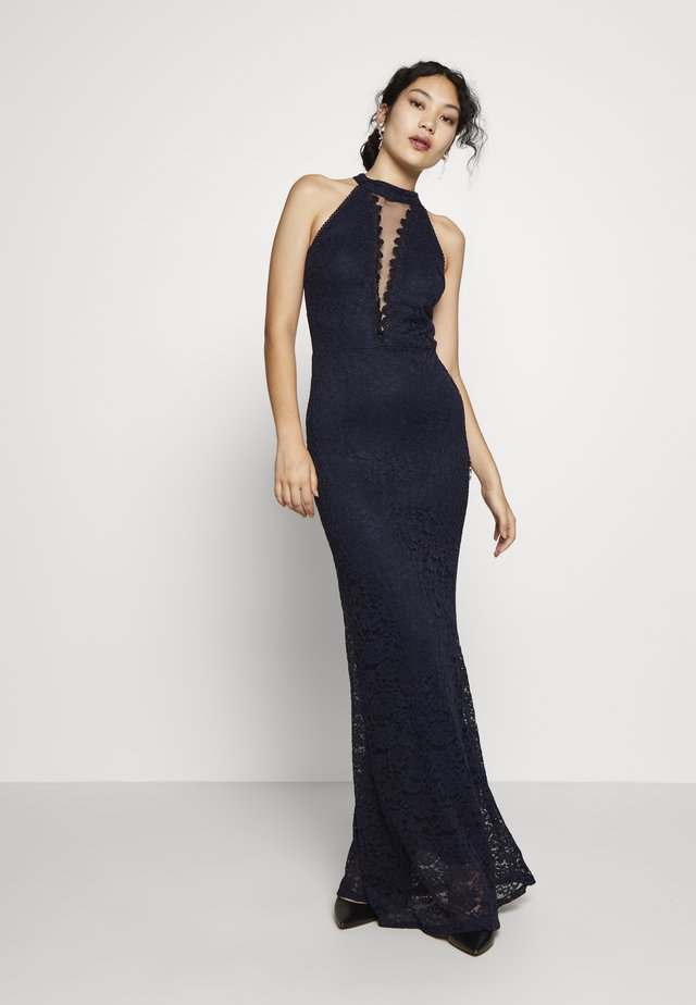 HALTER NECK INSERT MAXI DRESS - Galajurk - navy