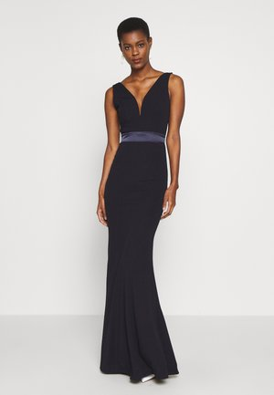 V NECK RUBAN MAXI DRESS - Galajurk - navy
