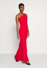 WAL G TALL - ONE SHOULDER RUCHED MAXI DRESS - Vestido de fiesta - red - 1