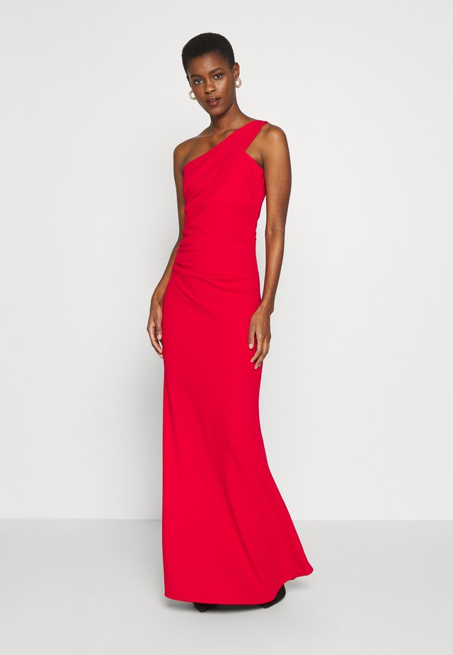 ONE SHOULDER RUCHED MAXI DRESS - Galajurk - red