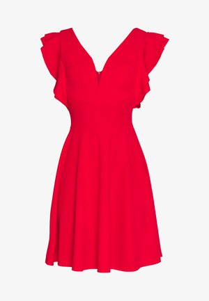 TALL V NECK FRILL SLEEVE FIT FLARE DRESS - Žerzejové šaty - red