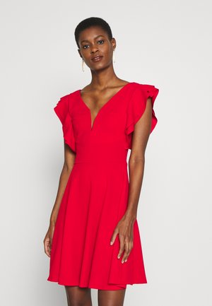 TALL V NECK FRILL SLEEVE FIT FLARE DRESS - Jersey dress - red