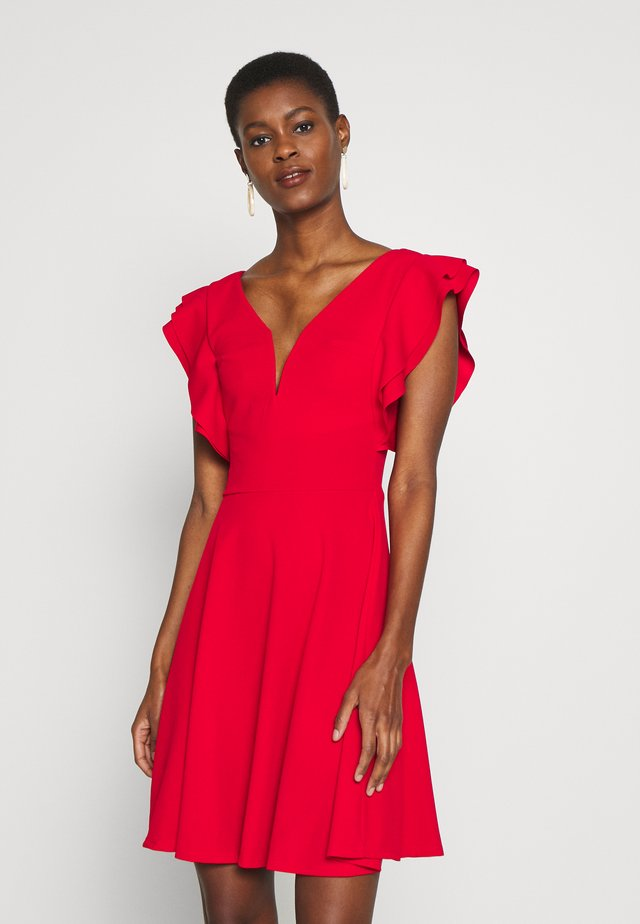 TALL V NECK FRILL SLEEVE FIT FLARE DRESS - Jerseyjurk - red