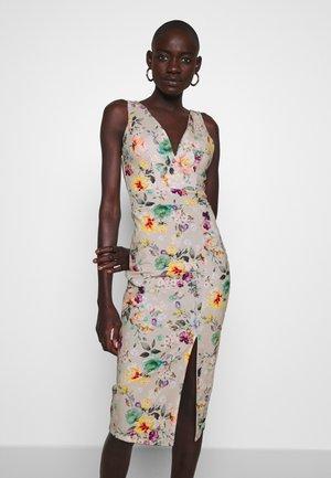 V NECK SLIT DRESS - Korte jurk - floral beige