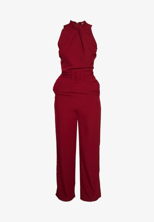 HIGH NECK BELTED - Mono - burgundy
