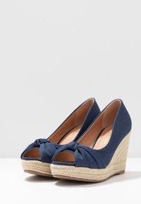 Wallis Wide Fit - WHIRL - Peeptoe heels - navy - 4