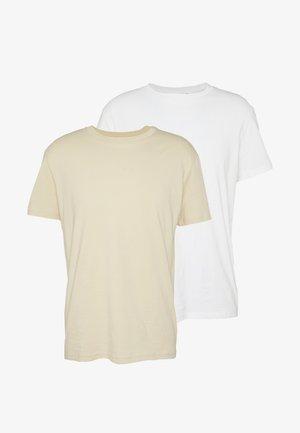UNISEX ALAN 2 PACK - T-shirt med print - beige/white