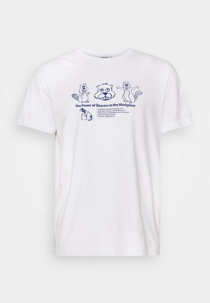 Weekday - UNISEX Relaxed Printed - T-shirt z nadrukiem - white