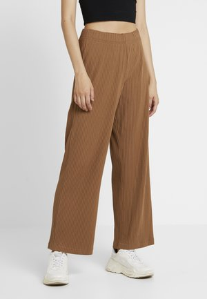 LIME RIBBED TROUSERS - Bukse - dark beige