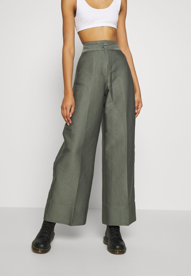 Weekday - TROUSERS - Trousers - dark dusty green