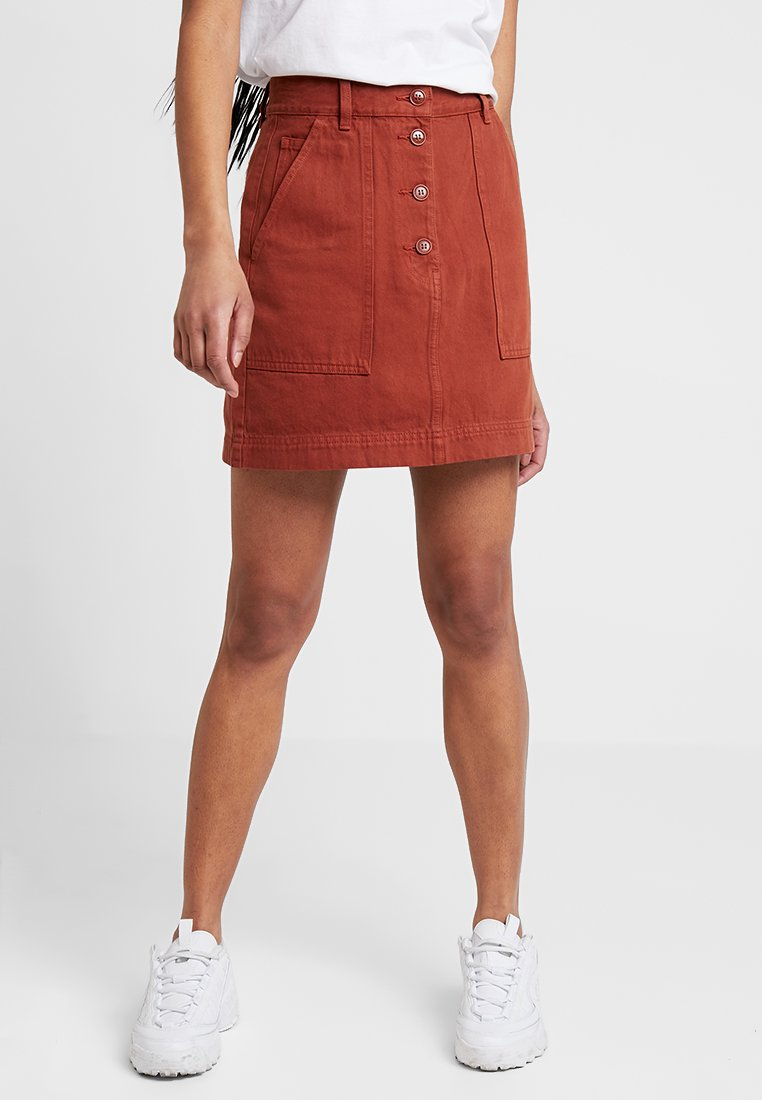 Weekday - SKIRT - A-line skirt - rust red