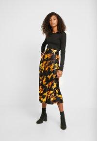 Weekday - IRMA SKIRT - Pencil skirt - black/yellow - 0