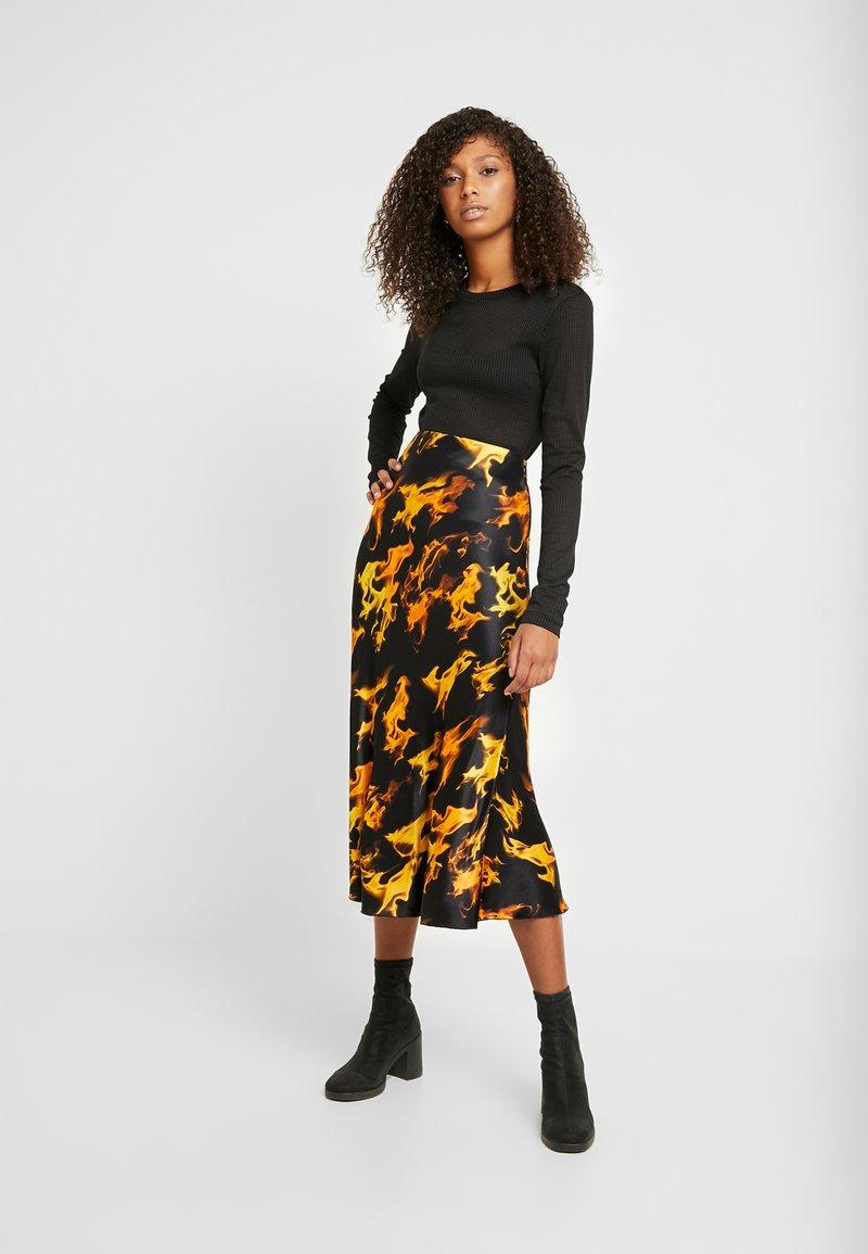 Weekday - IRMA SKIRT - Pencil skirt - black/yellow