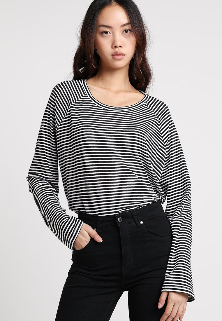 Weekday - BASE BOXY - Long sleeved top - black/white