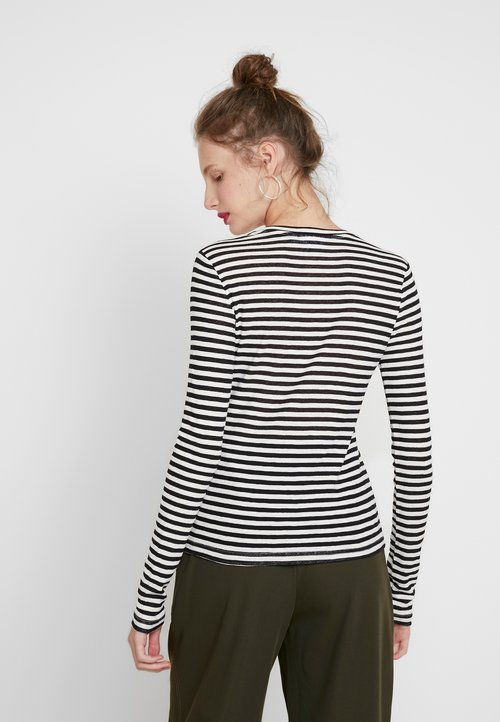 Weekday BASELONG SLEEVE - Sweter - black/white Odzież Damska JOWK-PE2 80% ZNIŻKI