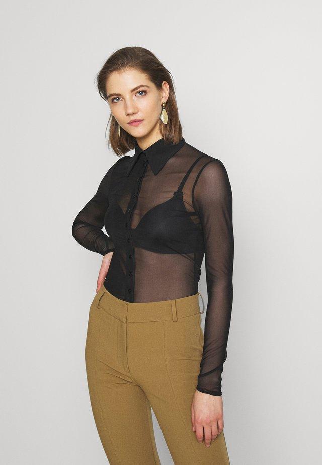 AVICE - Button-down blouse - black