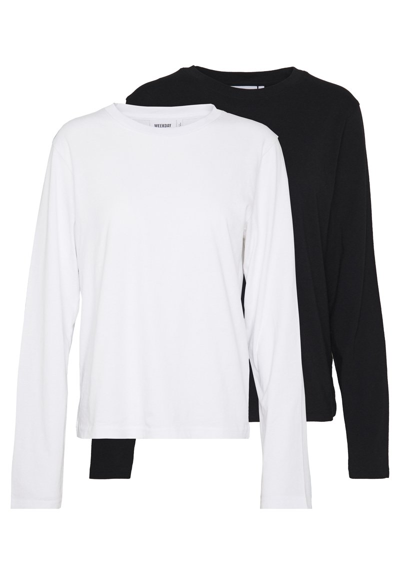 Weekday - ALANIS 2 PACK - Langærmede T-shirts - black/white