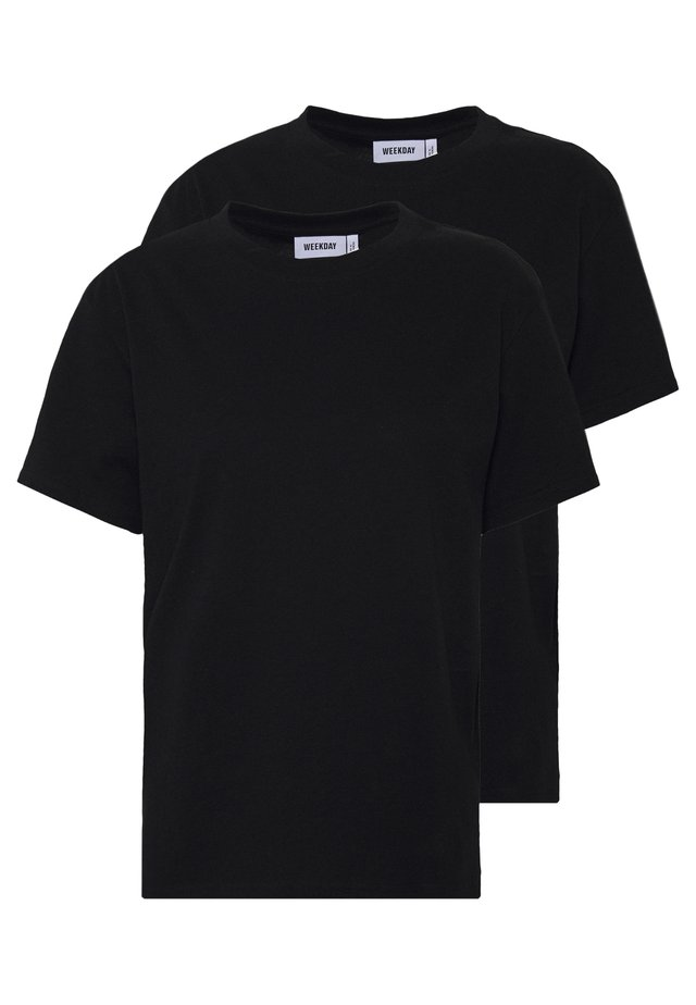 ALANIS 2 PACK - T-shirts - black/black