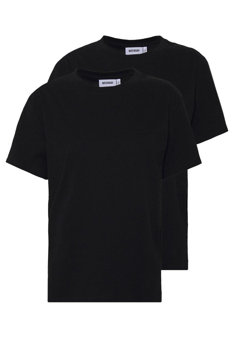 Weekday - ALANIS 2 PACK - T-shirts - black/black