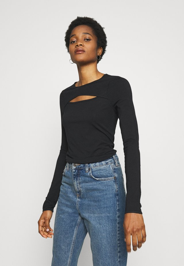 CARLA CUT OUT LONG SLEEVE - Long sleeved top - black