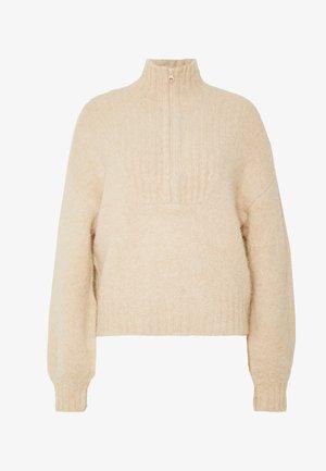 SELINA ZIP - Sweter - beige melange