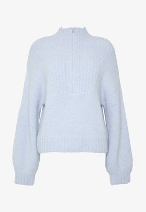 SELINA ZIP - Stickad tröja - light blue
