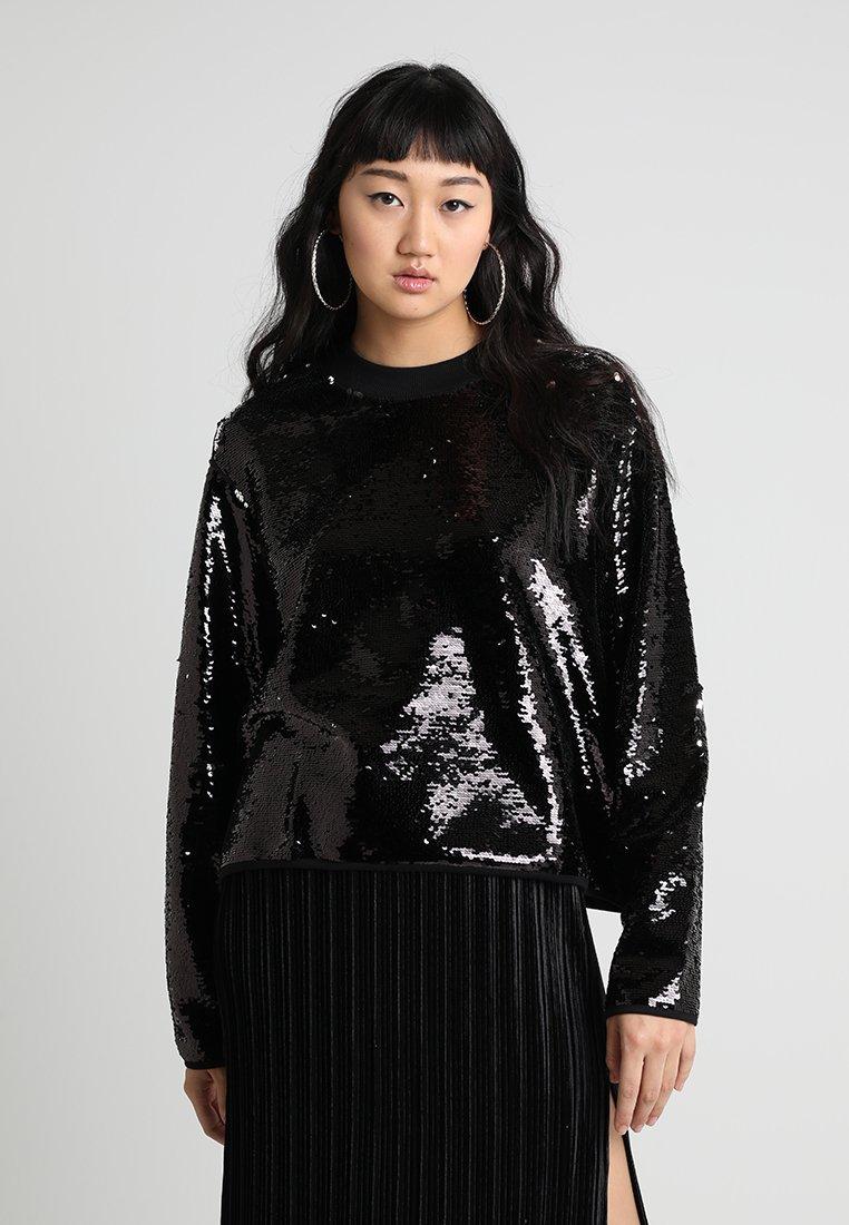 Weekday - VINCI SEQUINS - Sweatshirt - black/silver