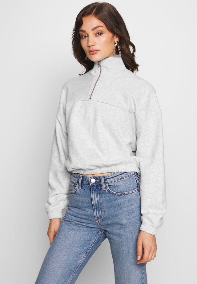 LOU ZIP FRONT - Sweater - light grey melange