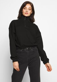 Weekday - LOU ZIP FRONT - Sweatshirt - black - 0